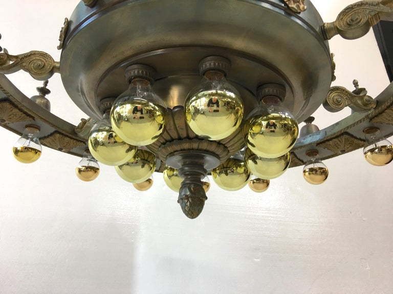 Brass Four Grand Scale Bronze Lobby Chandeliers For Sale