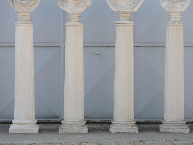 Four Grand Tour Style Romans Emperors Busts on Columns, 19th Century For Sale 11