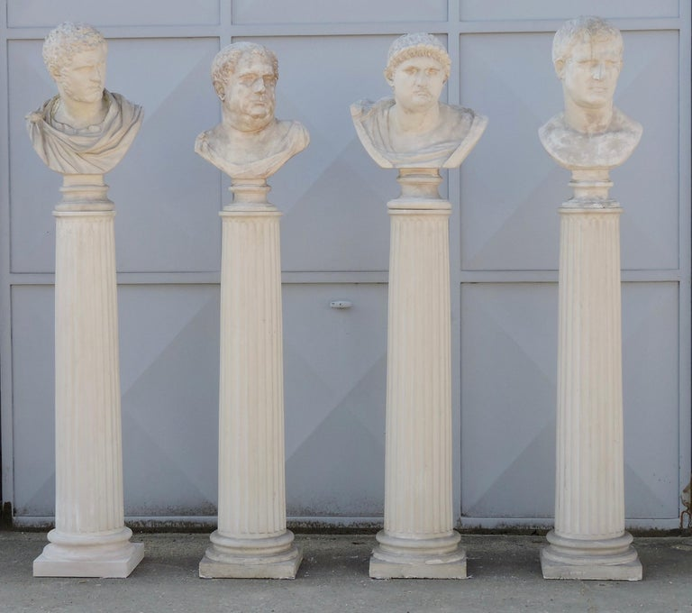 French Four Grand Tour Style Romans Emperors Busts on Columns, 19th Century For Sale