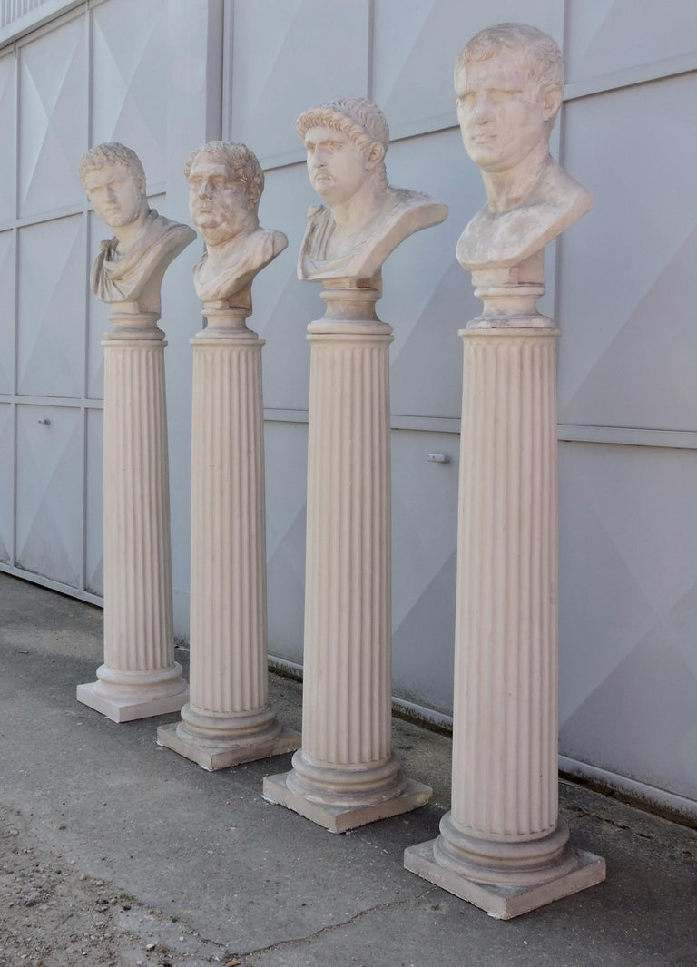 Molded Four Grand Tour Style Romans Emperors Busts on Columns, 19th Century For Sale