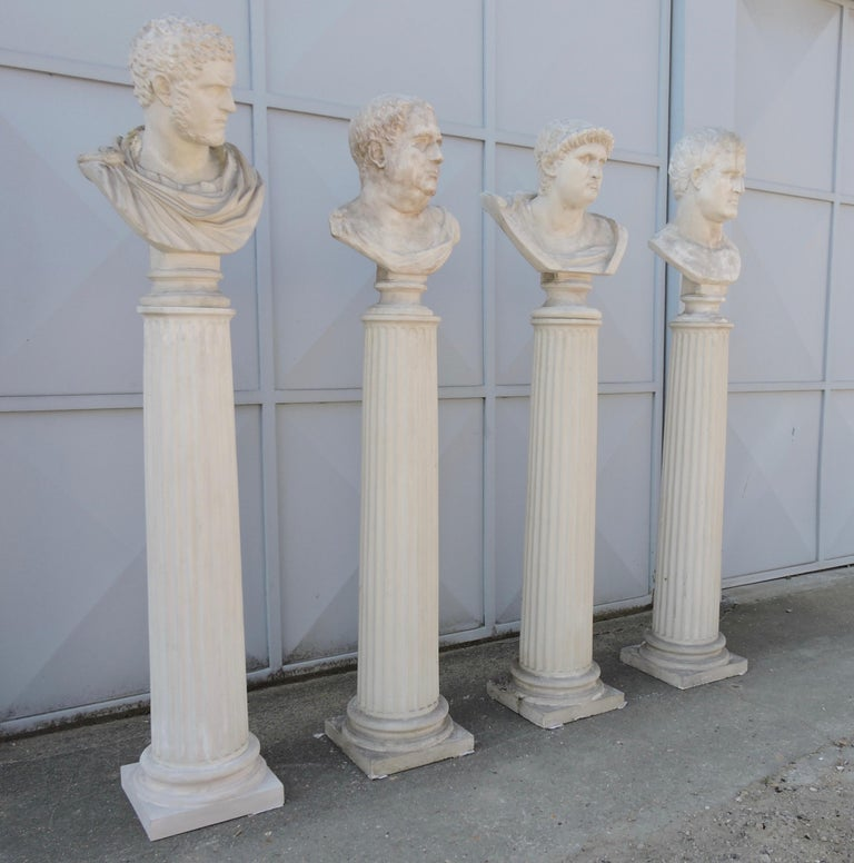 Four Grand Tour Style Romans Emperors Busts on Columns, 19th Century In Good Condition For Sale In Saint-Ouen, FR