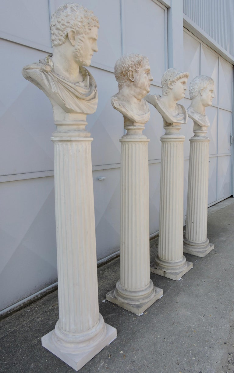 Late 19th Century Four Grand Tour Style Romans Emperors Busts on Columns, 19th Century For Sale