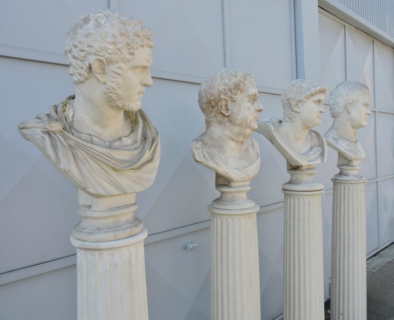 Plaster Four Grand Tour Style Romans Emperors Busts on Columns, 19th Century For Sale