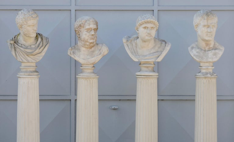 Four Grand Tour Style Romans Emperors Busts on Columns, 19th Century For Sale 1