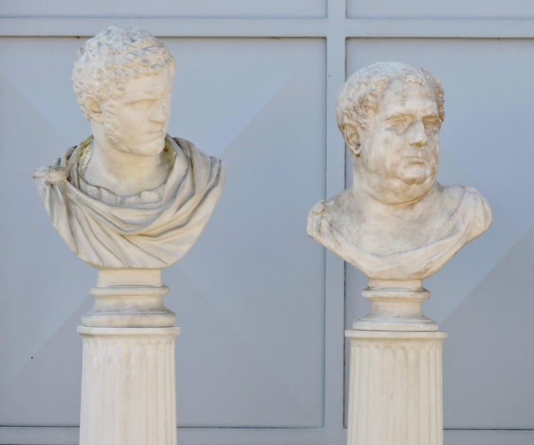 Four Grand Tour Style Romans Emperors Busts on Columns, 19th Century For Sale 2