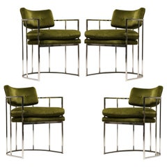 Four Green and Chrome Milo Baughman Barrel Dining Chairs