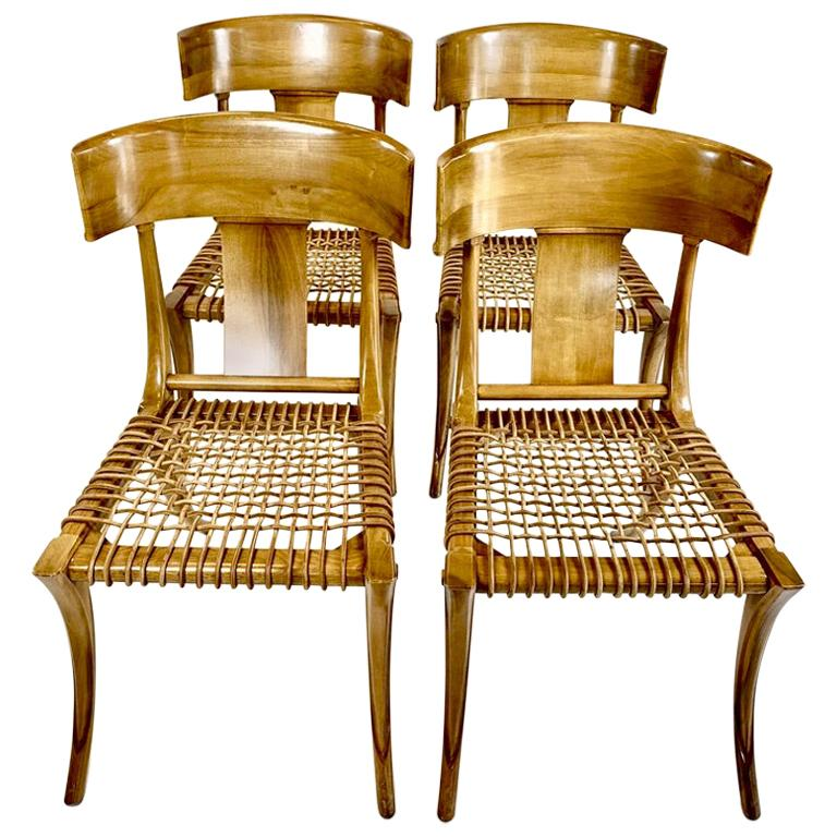 Four Handsome Neoclassical Klismos Chairs in the Manner of TH Robsjohn Gibbings For Sale