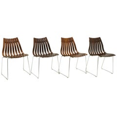 Four Hans Brattrud Rosewood Scandia Dining Chairs for Hove Mobler Norway