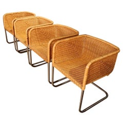 Four Harvey Probber Chrome and Wicker Fabricius and Kastholm Cantilever Chairs