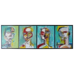 Four Heads, Original Quadriptych by American Painter Adam Henderson, circa 2019