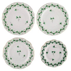 Four Herend Green Clover Plates in Hand-Painted Porcelain with Gold Edge