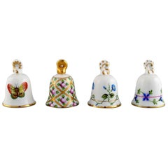 Four Herend Table Bells in Hand-Painted Porcelain with Flowers, 1980's