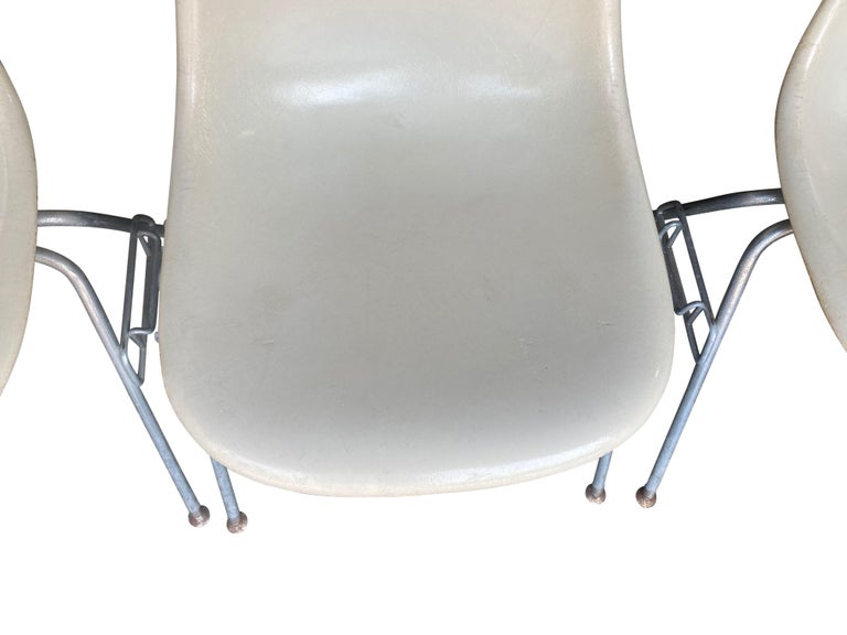 Four Herman Miller Eames Fiberglass Stacking Dining Chairs For Sale 5