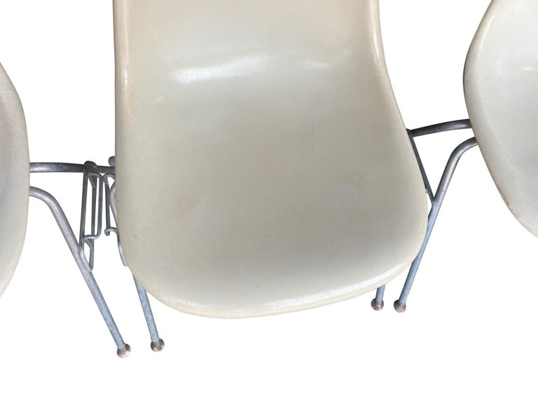 Four Herman Miller Eames Fiberglass Stacking Dining Chairs For Sale 6