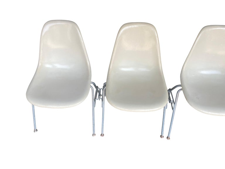 Late 20th Century Four Herman Miller Eames Fiberglass Stacking Dining Chairs For Sale