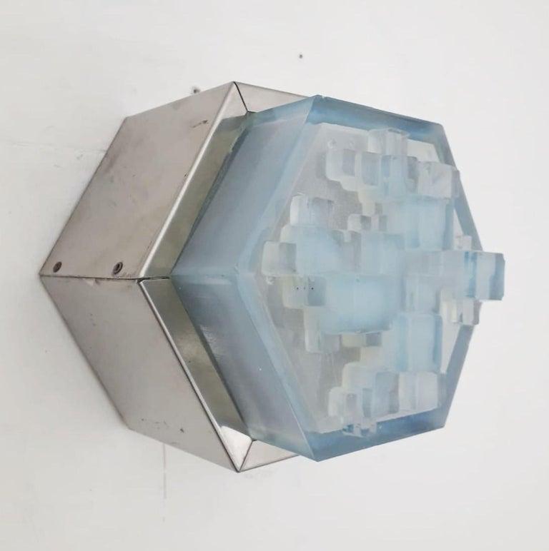 Mid-Century Modern Four Hexagonal Modular Sconces / Flush Mounts by Poliarte For Sale