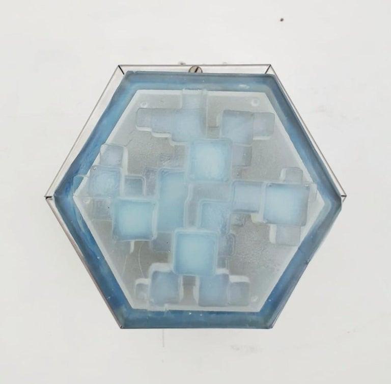 Italian Four Hexagonal Modular Sconces / Flush Mounts by Poliarte For Sale