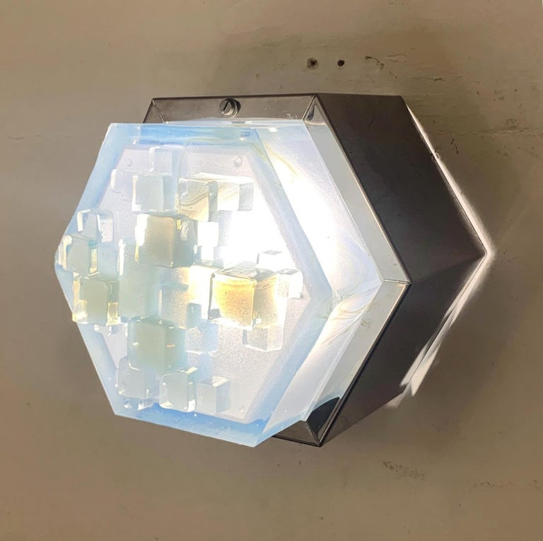 Four Hexagonal Modular Sconces / Flush Mounts by Poliarte In Good Condition For Sale In Palm Springs, CA