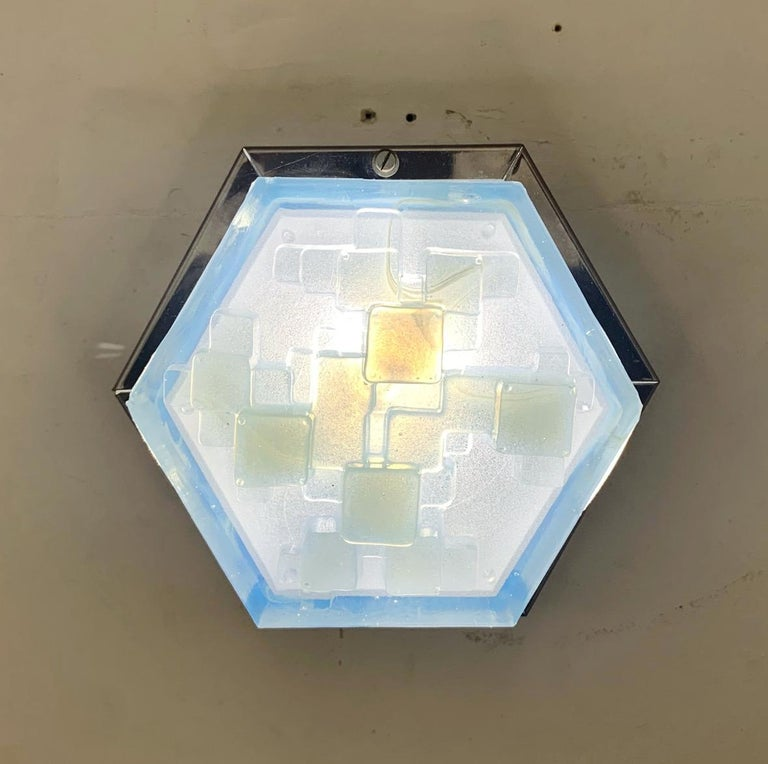 20th Century Four Hexagonal Modular Sconces / Flush Mounts by Poliarte For Sale