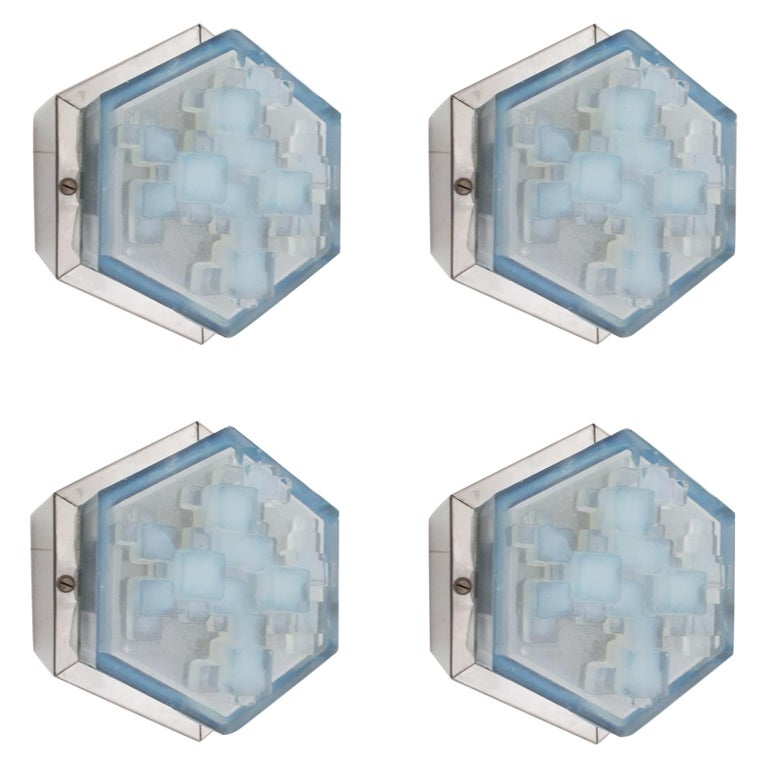 Four Hexagonal Modular Sconces / Flush Mounts by Poliarte For Sale