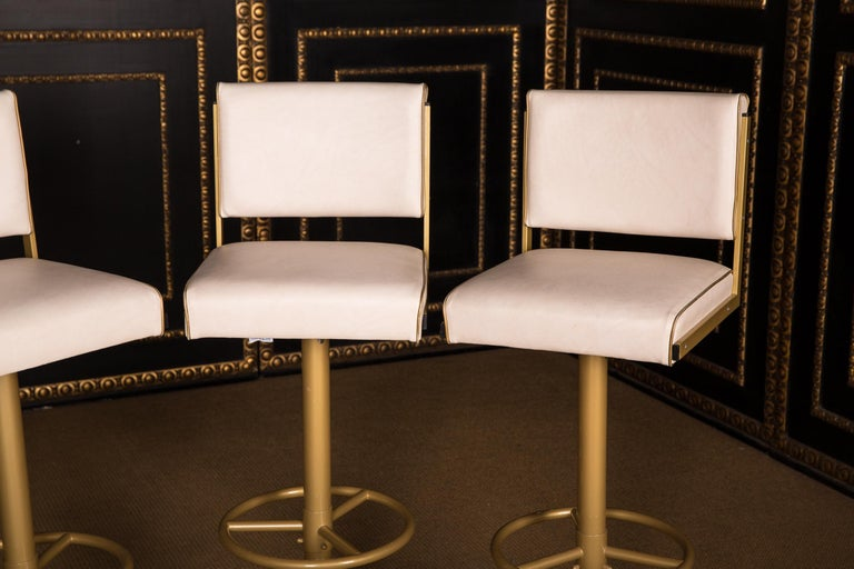Modern Four High Quality Bar Stools Made of Metal in Golden Color For Sale