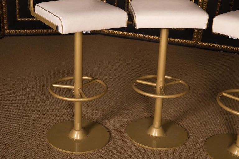 German Four High Quality Bar Stools Made of Metal in Golden Color For Sale