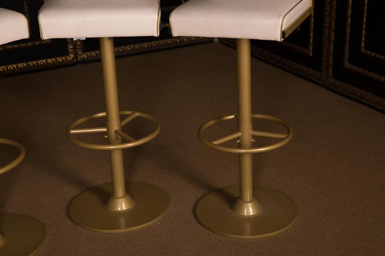 Lacquered Four High Quality Bar Stools Made of Metal in Golden Color For Sale