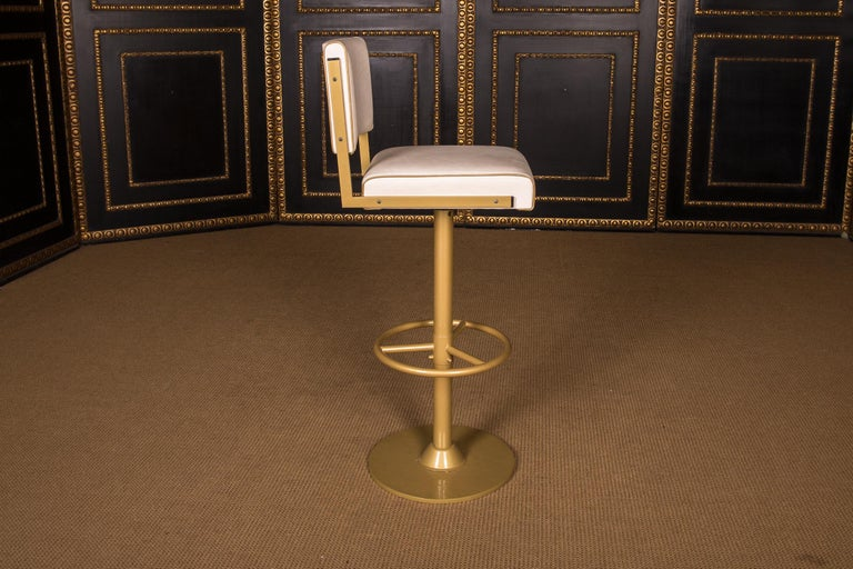 Four High Quality Bar Stools Made of Metal in Golden Color For Sale 1