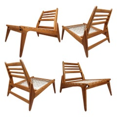 "Four ""Hunting chairs"" in Oak with Trapezium and Tapered Lines, 1950, Germany"