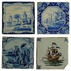 Four Individual Ceramic Delft Wall Tiles Hand Painted, 19th Century