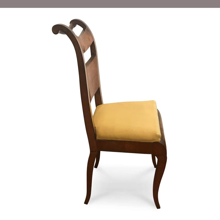Four Italian 19th Century Directoire Maple Chairs Genoese Estampille Chairs For Sale 6