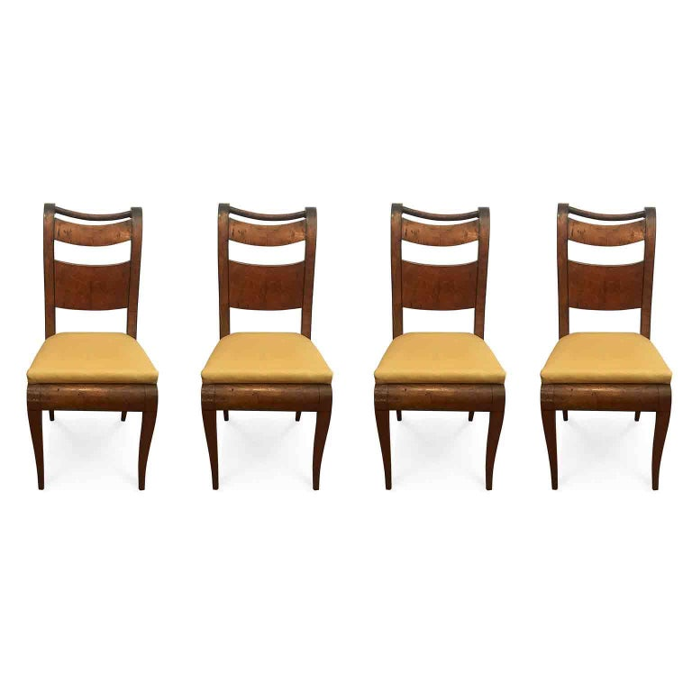 Four Italian 19th Century Directoire Maple Chairs Genoese Estampille Chairs For Sale 7