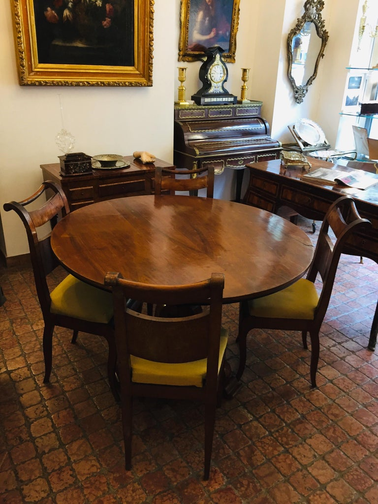 Four Italian 19th Century Directoire Maple Chairs Genoese Estampille Chairs For Sale 8