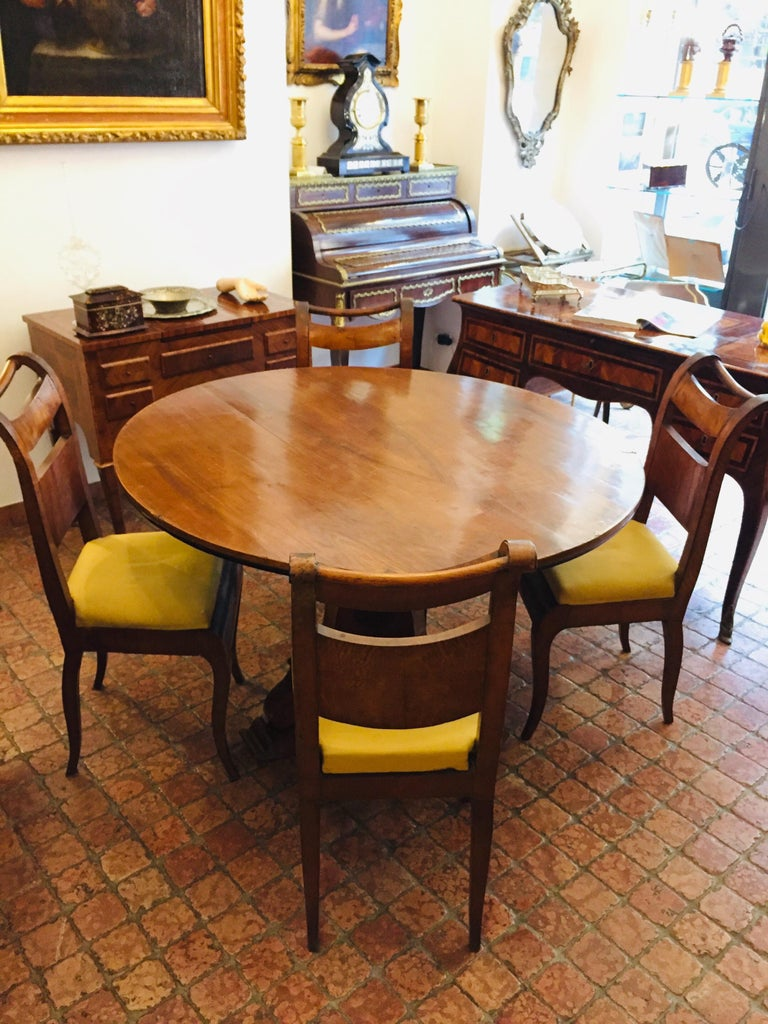 Four Italian 19th Century Directoire Maple Chairs Genoese Estampille Chairs For Sale 9
