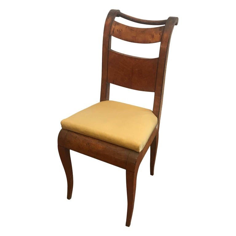 Veneer Four Italian 19th Century Directoire Maple Chairs Genoese Estampille Chairs For Sale
