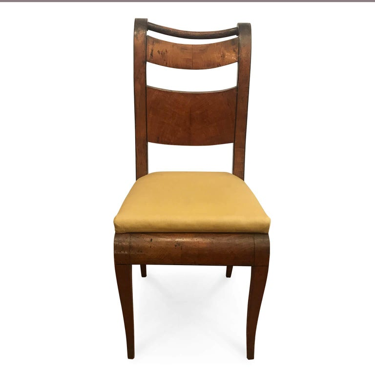 Four Italian 19th Century Directoire Maple Chairs Genoese Estampille Chairs In Fair Condition For Sale In Milan, IT