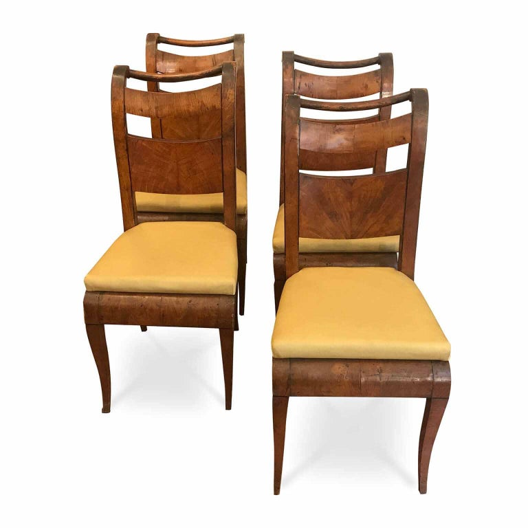 Four Italian 19th Century Directoire Maple Chairs Genoese Estampille Chairs For Sale 2