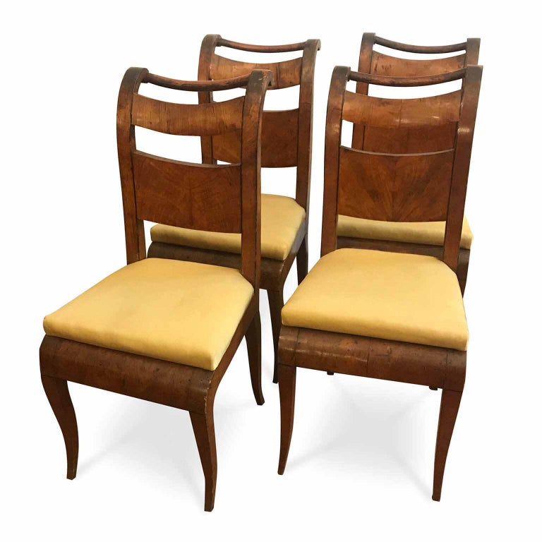 Four Italian 19th Century Directoire Maple Chairs Genoese Estampille Chairs For Sale 4