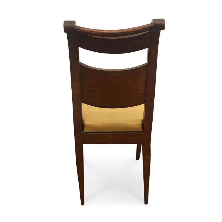 Four Italian 19th Century Directoire Maple Chairs Genoese Estampille Chairs For Sale 5