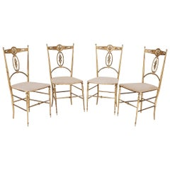 Four Italian 'Chiavari' Brass and Velvet Chairs
