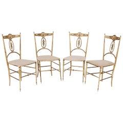 Four Italian 'Chiavari' Brass and Velvet Chairs