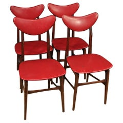 Four Italian Design Chairs in Imitation Leather, 20th Century