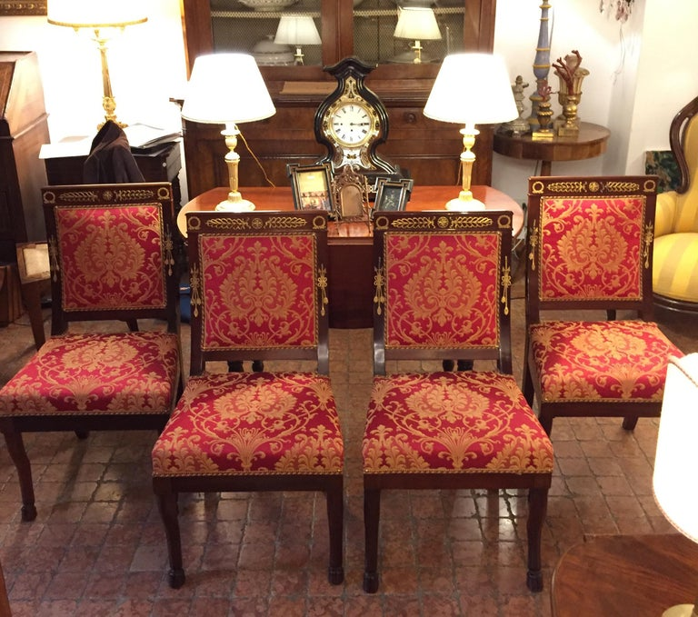 Four Italian Empire Style Chairs Mahogany with Ormolu Mounts  1970 Circa For Sale 13
