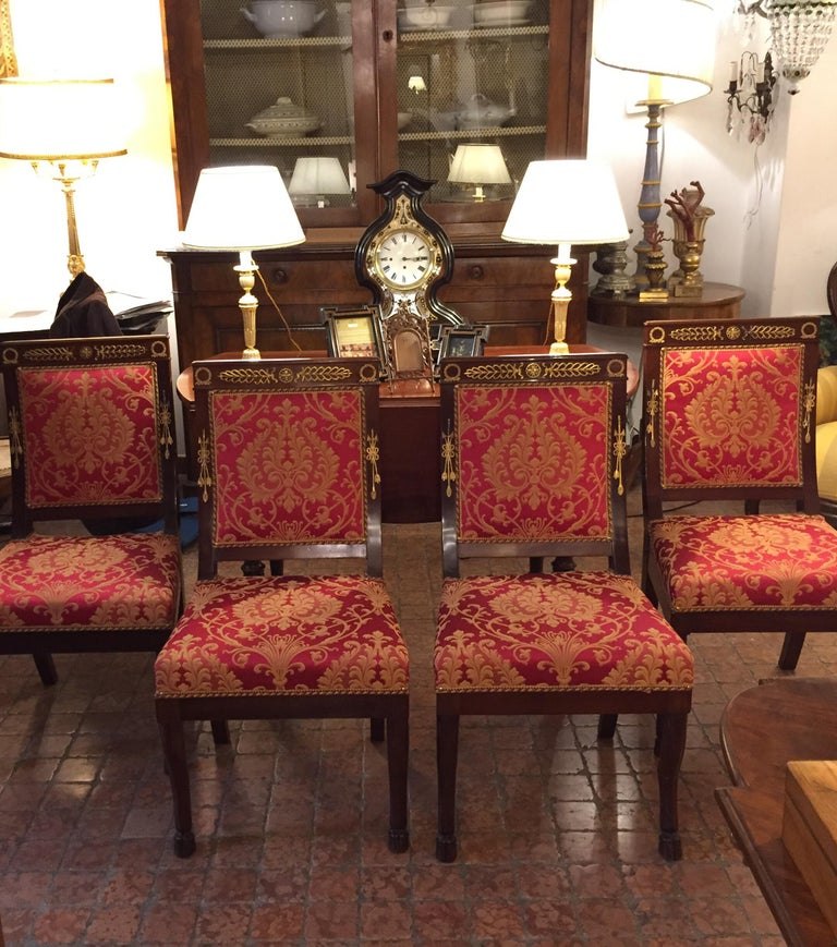 Four Italian Empire Style Chairs Mahogany with Ormolu Mounts  1970 Circa For Sale 4