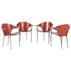Four Italian Modern Chrome and Leather Armchairs, 2000s