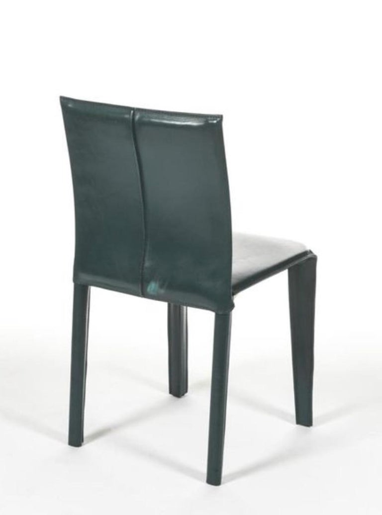 Four Italian Olive Green Leather Chairs by Arper, 1970 In Good Condition For Sale In Pully, CH