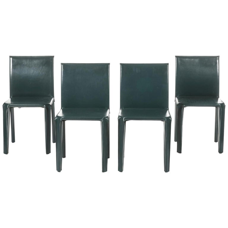 Four Italian Olive Green Leather Chairs by Arper, 1970 For Sale