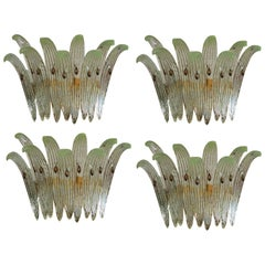 Four Italian Palmette Sconces, Murano