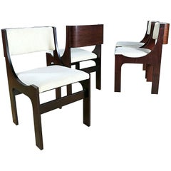 Four Italian Postmodern Sculptural Walnut Dining Chairs, 1980s, Italy