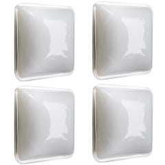Four Italian Square Handblown Glass Wall Ceiling Lights Flush Mounts, 1960s
